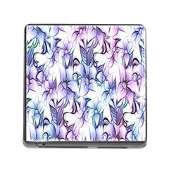 Floral Pattern Background Memory Card Reader (square) by Simbadda