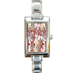 Floral Pattern Background Rectangle Italian Charm Watch by Simbadda