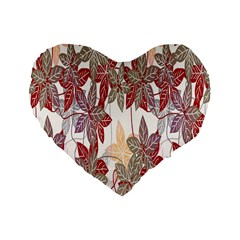 Floral Pattern Background Standard 16  Premium Heart Shape Cushions by Simbadda