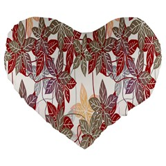 Floral Pattern Background Large 19  Premium Heart Shape Cushions by Simbadda
