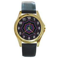 Cyan Yellow Magenta Kaleidoscope Round Gold Metal Watch by Simbadda