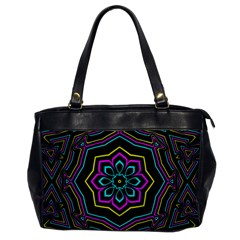 Cyan Yellow Magenta Kaleidoscope Office Handbags by Simbadda