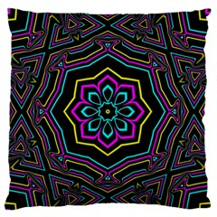 Cyan Yellow Magenta Kaleidoscope Large Flano Cushion Case (two Sides) by Simbadda