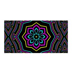 Cyan Yellow Magenta Kaleidoscope Satin Wrap