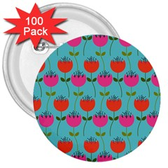 Tulips Floral Background Pattern 3  Buttons (100 Pack)  by Simbadda