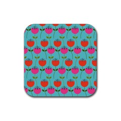 Tulips Floral Background Pattern Rubber Coaster (square)  by Simbadda