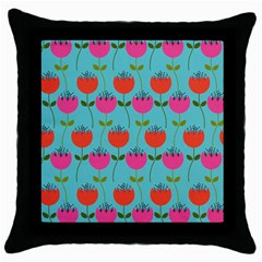 Tulips Floral Background Pattern Throw Pillow Case (black) by Simbadda