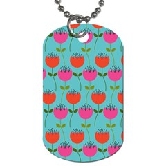 Tulips Floral Background Pattern Dog Tag (one Side) by Simbadda