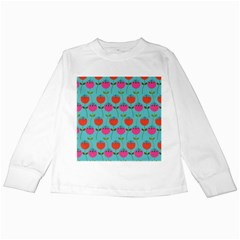Tulips Floral Background Pattern Kids Long Sleeve T Shirts
