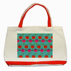 Tulips Floral Background Pattern Classic Tote Bag (red)