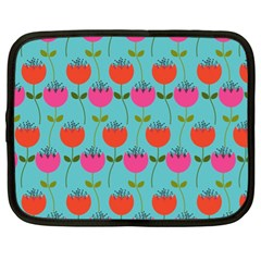Tulips Floral Background Pattern Netbook Case (xl)  by Simbadda
