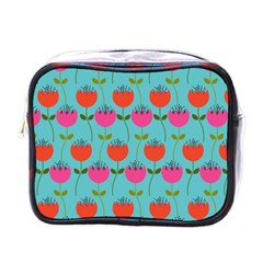 Tulips Floral Background Pattern Mini Toiletries Bags by Simbadda