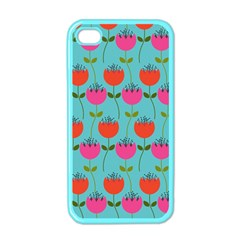 Tulips Floral Background Pattern Apple Iphone 4 Case (color)