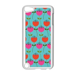Tulips Floral Background Pattern Apple Ipod Touch 5 Case (white) by Simbadda
