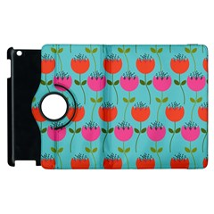 Tulips Floral Background Pattern Apple Ipad 3/4 Flip 360 Case by Simbadda