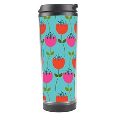 Tulips Floral Background Pattern Travel Tumbler by Simbadda