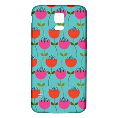 Tulips Floral Background Pattern Samsung Galaxy S5 Back Case (white) by Simbadda
