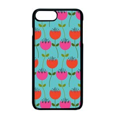 Tulips Floral Background Pattern Apple Iphone 7 Plus Seamless Case (black) by Simbadda