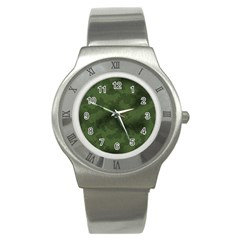 Vintage Camouflage Military Swatch Old Army Background Stainless Steel Watch by Simbadda