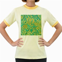 Floral Pattern Women s Fitted Ringer T Shirts