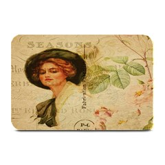 Lady On Vintage Postcard Vintage Floral French Postcard With Face Of Glamorous Woman Illustration Plate Mats by Simbadda