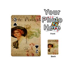 Lady On Vintage Postcard Vintage Floral French Postcard With Face Of Glamorous Woman Illustration Playing Cards 54 (mini)