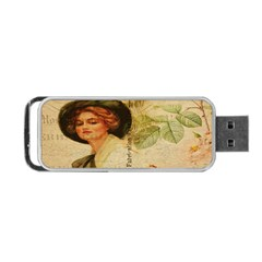 Lady On Vintage Postcard Vintage Floral French Postcard With Face Of Glamorous Woman Illustration Portable Usb Flash (two Sides) by Simbadda