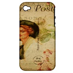 Lady On Vintage Postcard Vintage Floral French Postcard With Face Of Glamorous Woman Illustration Apple Iphone 4/4s Hardshell Case (pc+silicone) by Simbadda