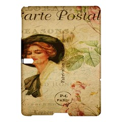 Lady On Vintage Postcard Vintage Floral French Postcard With Face Of Glamorous Woman Illustration Samsung Galaxy Tab S (10 5 ) Hardshell Case  by Simbadda