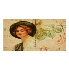 Lady On Vintage Postcard Vintage Floral French Postcard With Face Of Glamorous Woman Illustration Satin Shawl by Simbadda