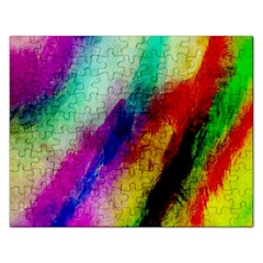 Colorful Abstract Paint Splats Background Rectangular Jigsaw Puzzl by Simbadda