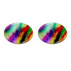 Colorful Abstract Paint Splats Background Cufflinks (oval) by Simbadda
