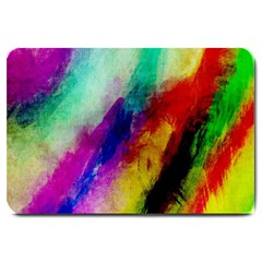 Colorful Abstract Paint Splats Background Large Doormat  by Simbadda