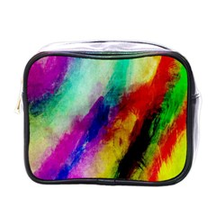 Colorful Abstract Paint Splats Background Mini Toiletries Bags by Simbadda