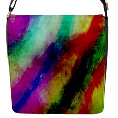 Colorful Abstract Paint Splats Background Flap Messenger Bag (s) by Simbadda