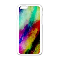 Colorful Abstract Paint Splats Background Apple Iphone 6/6s White Enamel Case by Simbadda