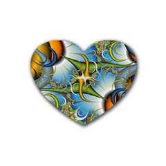 Random Fractal Background Image Rubber Coaster (heart)  by Simbadda
