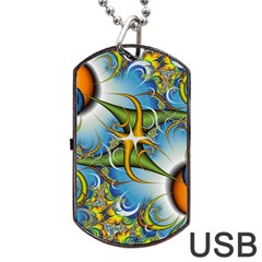 Random Fractal Background Image Dog Tag Usb Flash (two Sides) by Simbadda