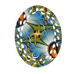 Random Fractal Background Image Oval Filigree Ornament (two Sides) by Simbadda