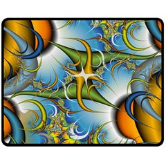 Random Fractal Background Image Double Sided Fleece Blanket (medium)  by Simbadda