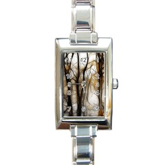 Fall Forest Artistic Background Rectangle Italian Charm Watch by Simbadda
