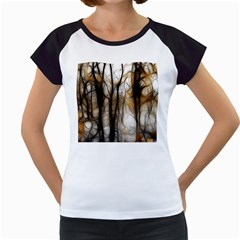 Fall Forest Artistic Background Women s Cap Sleeve T