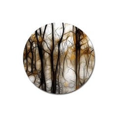 Fall Forest Artistic Background Magnet 3  (round) by Simbadda