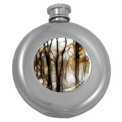 Fall Forest Artistic Background Round Hip Flask (5 Oz) by Simbadda