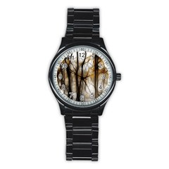 Fall Forest Artistic Background Stainless Steel Round Watch by Simbadda