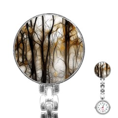 Fall Forest Artistic Background Stainless Steel Nurses Watch by Simbadda