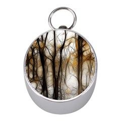 Fall Forest Artistic Background Mini Silver Compasses by Simbadda