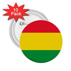 Rasta Colors Red Yellow Gld Green Stripes Pattern Ethiopia 2 25  Buttons (10 Pack)