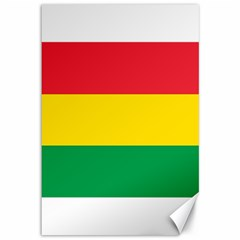 Rasta Colors Red Yellow Gld Green Stripes Pattern Ethiopia Canvas 12  X 18   by yoursparklingshop
