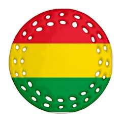 Rasta Colors Red Yellow Gld Green Stripes Pattern Ethiopia Ornament (round Filigree) by yoursparklingshop